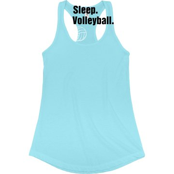 Eat. Sleep. Volleyball. Junior Fit Bella Sheer Longer Length Rib Racerback Tank Top