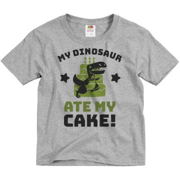 Dinosaur Birthday Cake Youth Basic Gildan Ultra Cotton Crew Neck Tee