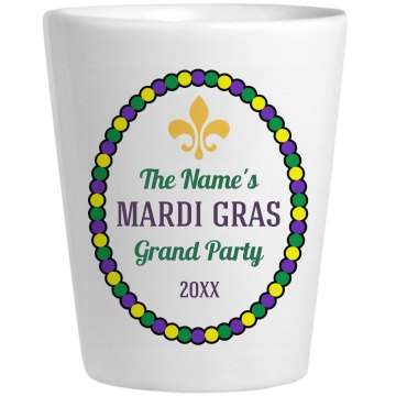 Mardi Gras Shot Ceramic Shotglass
