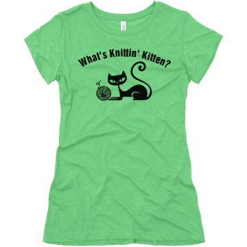 What's Knittin' Kitten Junior Fit Bella Triblend Tee