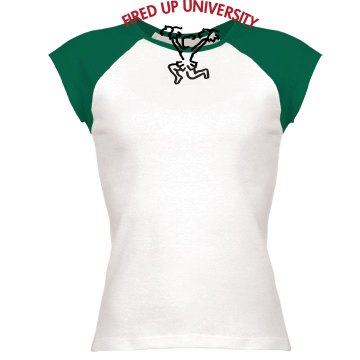 Fired Up U Junior Fit Bella 1x1 Rib Cap Sleeve Raglan Tee