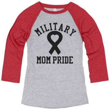 Military Mom Junior Fit Bella 1x1 Rib Ringer Tee
