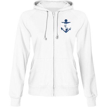 Navy Wife Hoodie Junior Fit Bella Fleece Raglan Zip Hoodie