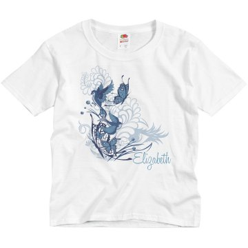 Birds &amp; Butterflies Name Youth Basic Gildan Ultra Cotton Crew Neck Tee