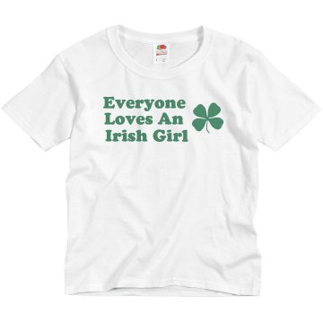 Loves An Irish Girl Youth Basic Gildan Ultra Cotton Crew Neck Tee