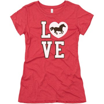 Love Horse Riding Junior Fit Bella Triblend Tee