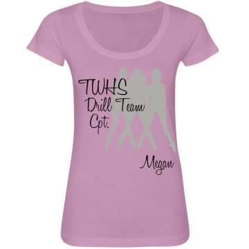 TWHS Drill Team Captain Junior Fit Bella Sheer Longer Length Scoopneck Tee