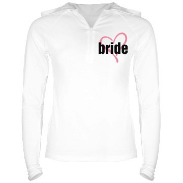 Bride Heart Hoodie Junior Fit Bella Long Sleeve 1/2 Zip Hooded Pullover Tee