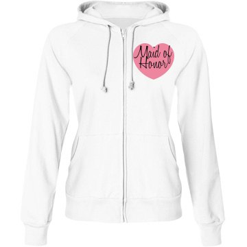 Maid Of Hono Hoodie Junior Fit Bella Fleece Raglan Zip Hoodie
