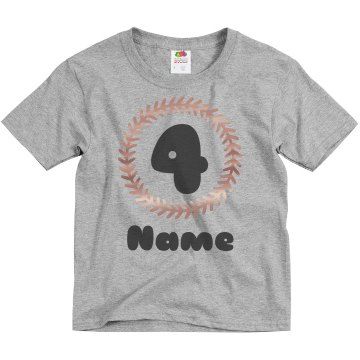 4th Birthday Youth Basic Gildan Ultra Cotton Crew Neck Tee