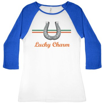 Luck Charm Junior Fit Bella 1x1 Rib Cap Sleeve Raglan Tee
