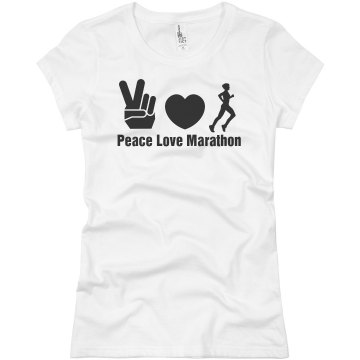 Peace Love Marathon Junior Fit Basic Bella Favorite Tee