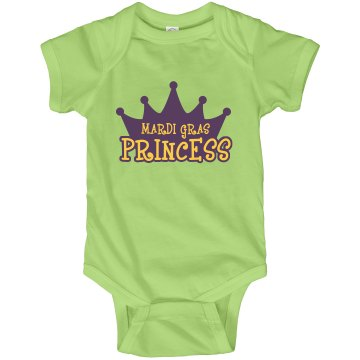 Mardi Gras Princess Infant Rabbit Skins Lap Shoulder Creeper