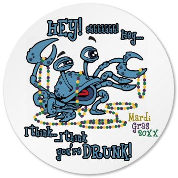Mardi Gras Drunk Crab Round Plastic Coaster with Cork Back