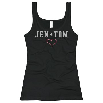 Jen + Tom Rhinestones Junior Fit Bella Sheer Longer Length Rib Tank Top