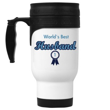 World's Best Husband 14oz White Stainless Steel Travel Mug