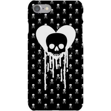 Dripping Heart Skulls Plastic iPhone 5 Case White