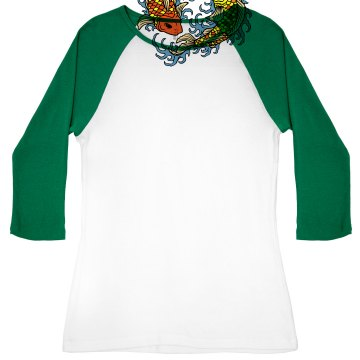 Kim's Fish Market Junior Fit Bella 1x1 Rib 3/4 Sleeve Raglan Tee