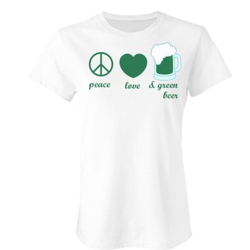Peace, Love & Green Beer Junior Fit Bella Sheer Longer Length Rib Tee