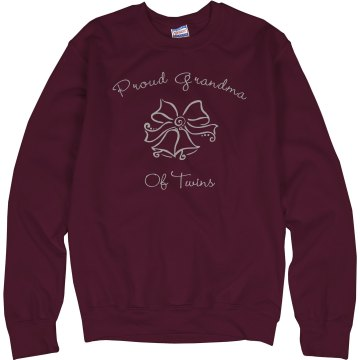 Proud Grandma Of Twins Unisex Hanes Crew Neck Sweatshirt