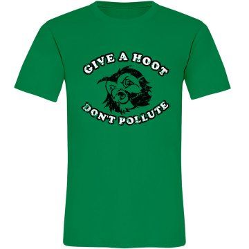 Earth Day Hoot Distressed Unisex Anvil Organic Tee
