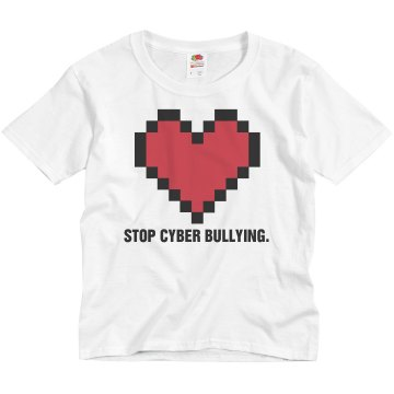 Stop Cyber Bullying Youth Basic Gildan Heavy Cotton Crew Neck Tee