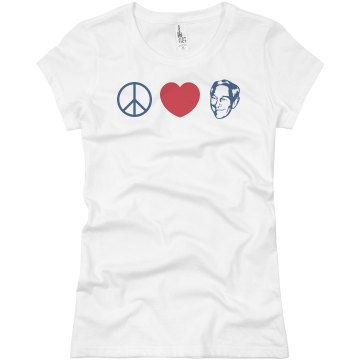 Peace Love Paul Junior Fit Basic Bella Favorite Tee
