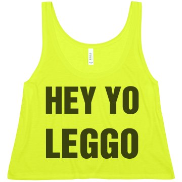 Hey Yo Leggo Misses American Apparel Neon Oversized Crop Tank