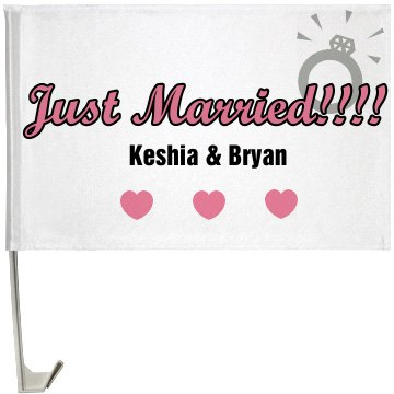 Just Married Flag One-Sided Driver Side Car Flag