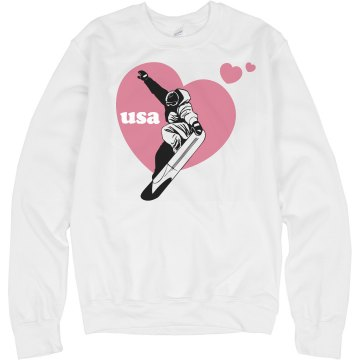 USA Snowboard Heart Junior Fit Bella Crewneck Jersey Tee