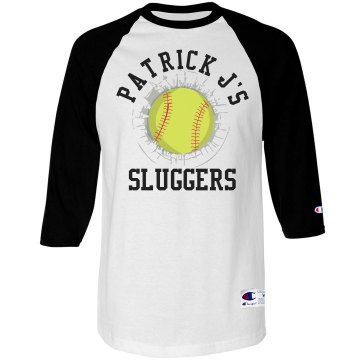 Distressed Softball Tee Unisex Champion Raglan Baseball Tee