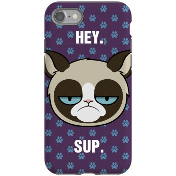 Grumpy Cat Greeting Rubber iPhone 4 & 4S Case Black