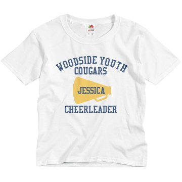 Youth Cheerleader Youth Bella Girl 1x1 Rib Cap Sleeve Tee