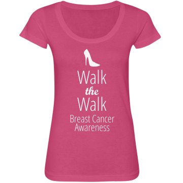 Breast Cancer Walk Junior Fit Bella Sheer Longer Length Scoopneck Tee