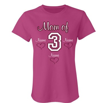 Mom Of Three Tee Misses Relaxed Fit Anvil V-Neck Tee