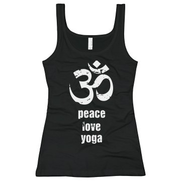 Peace, Love, Yoga Junior Fit Bella Sheer Longer Length Rib Tank Top