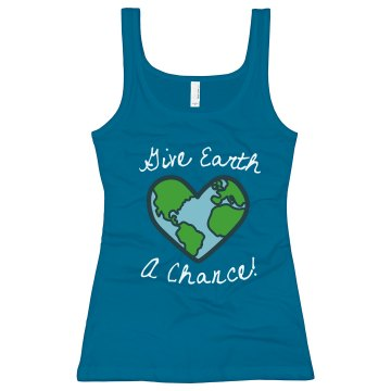 Give Earth A Chance! Junior Fit Bella Sheer Longer Length Rib Tank Top