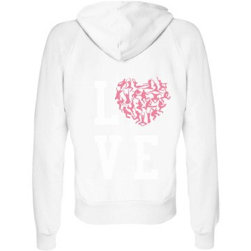Love to Dance Hoodie Junior Fit Bella Fleece Raglan Zip Hoodie
