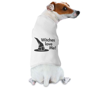 Witches Love Me Doggie Skins Dog Hoodie Tee