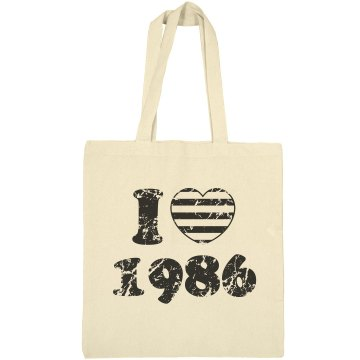 I Heart 1986 Liberty Bags Canvas Bargain Tote Bag