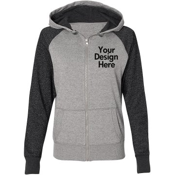 Custom Sweatsuit Top Junior Fit Bella Fleece Raglan Zip Hoodie