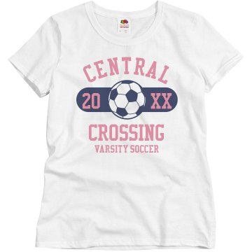 Central Crossing Soccer  Misses Relaxed Fit Basic Gildan Ultra Cotton Tee