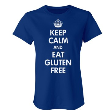 Keep Calm Eat Gluten Free Junior Fit Bella Crewneck Jersey Tee