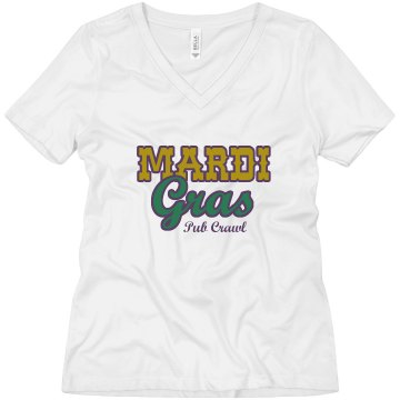 Mardi Gras Pub Crawl Misses Relaxed Fit Anvil V-Neck Tee