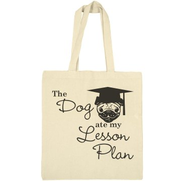 Dog Ate The Lesson Liberty Bags Canvas Bargain Tote Bag
