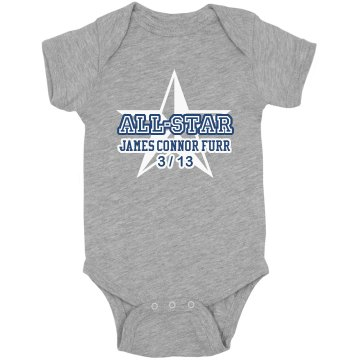 All-Star Newborn Onesie Infant Rabbit Skins Lap Shoulder Creeper