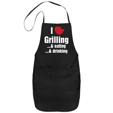I Love Grilling Apron Port Authority Adjustable Full Length Apron