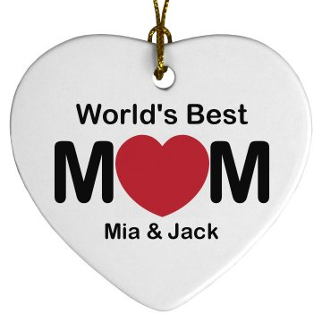 World&#x27;s Best Mom Porcelain Heart Ornament