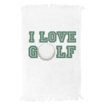 I Love Golf Towel Fringed Spirit Towel