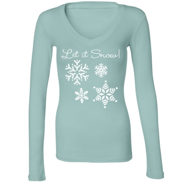 Let It Snow Graphic Tee Junior Fit Bella Long Sleeve Sheer Longer Length Rib V-Neck Tee
